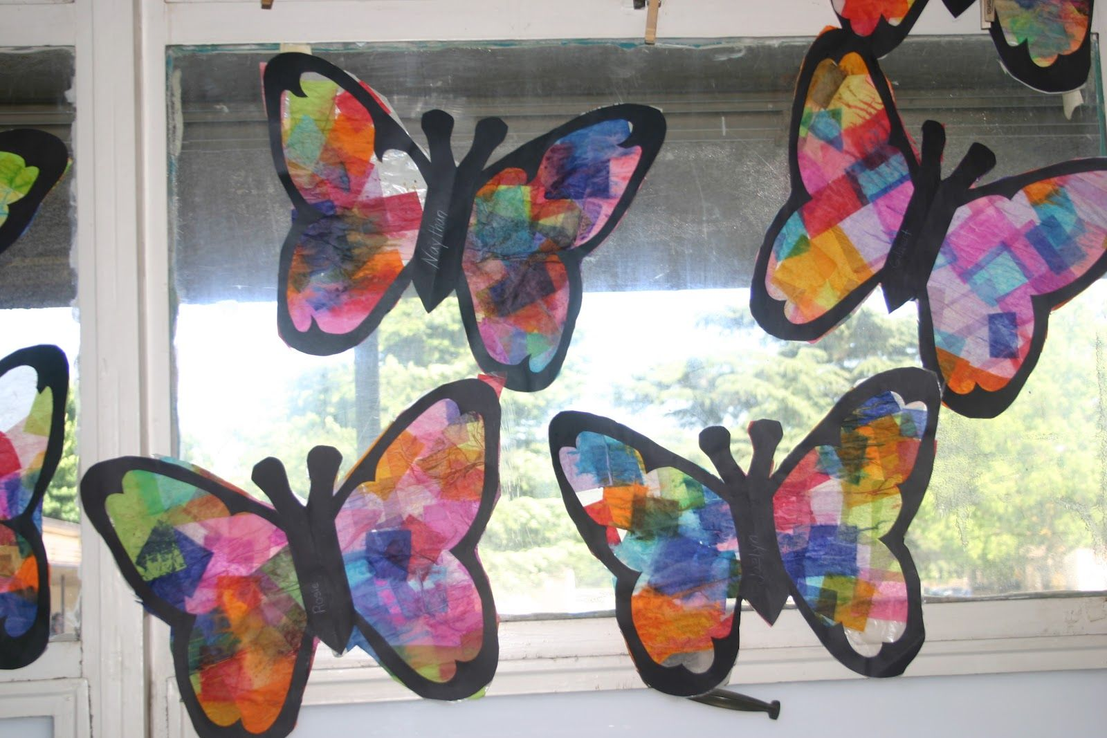 Butterfly suncatchers tissue paper craft butterfly for Butterfly stained glass craft