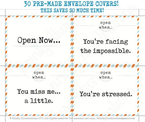 graphic about Open When Letters Printable named 30 Open up Whenever LETTER Pre-Intended Printables Print quickly