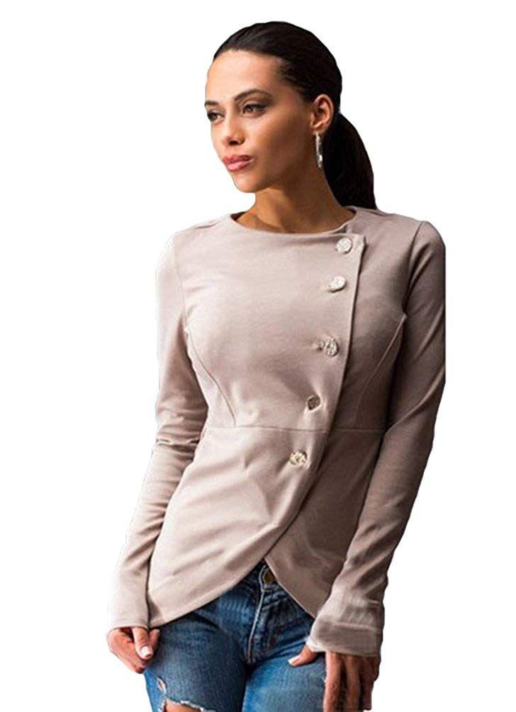 WanYang Donne Irregolare Giacca Cappotto Autunno Inverno Donna Pulsante Giacca a Maniche Lunghe Outwear