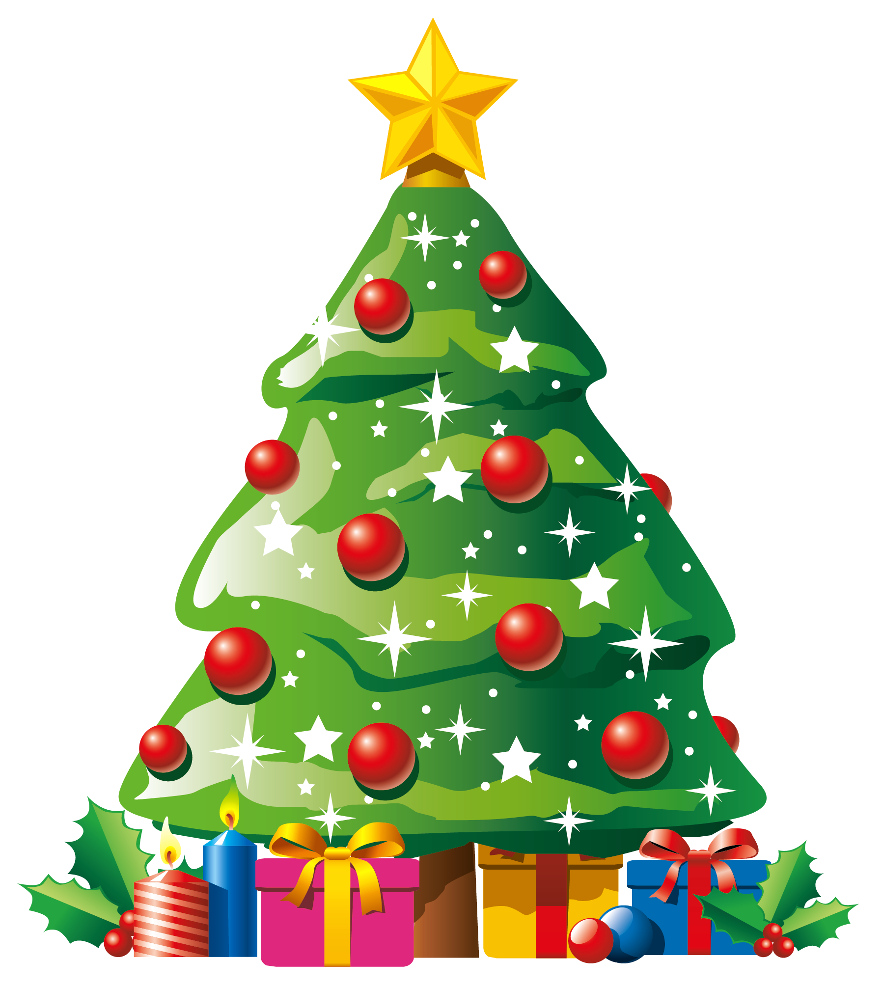 Transparent Deco Christmas Tree with Gifts Clipart | Navidad ...