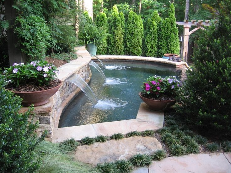landscaping cool small pool backyard landscape ideas with waterfall pool fountain design ideas landscape design backyards - Landscape Design Ideas For Small Backyards
