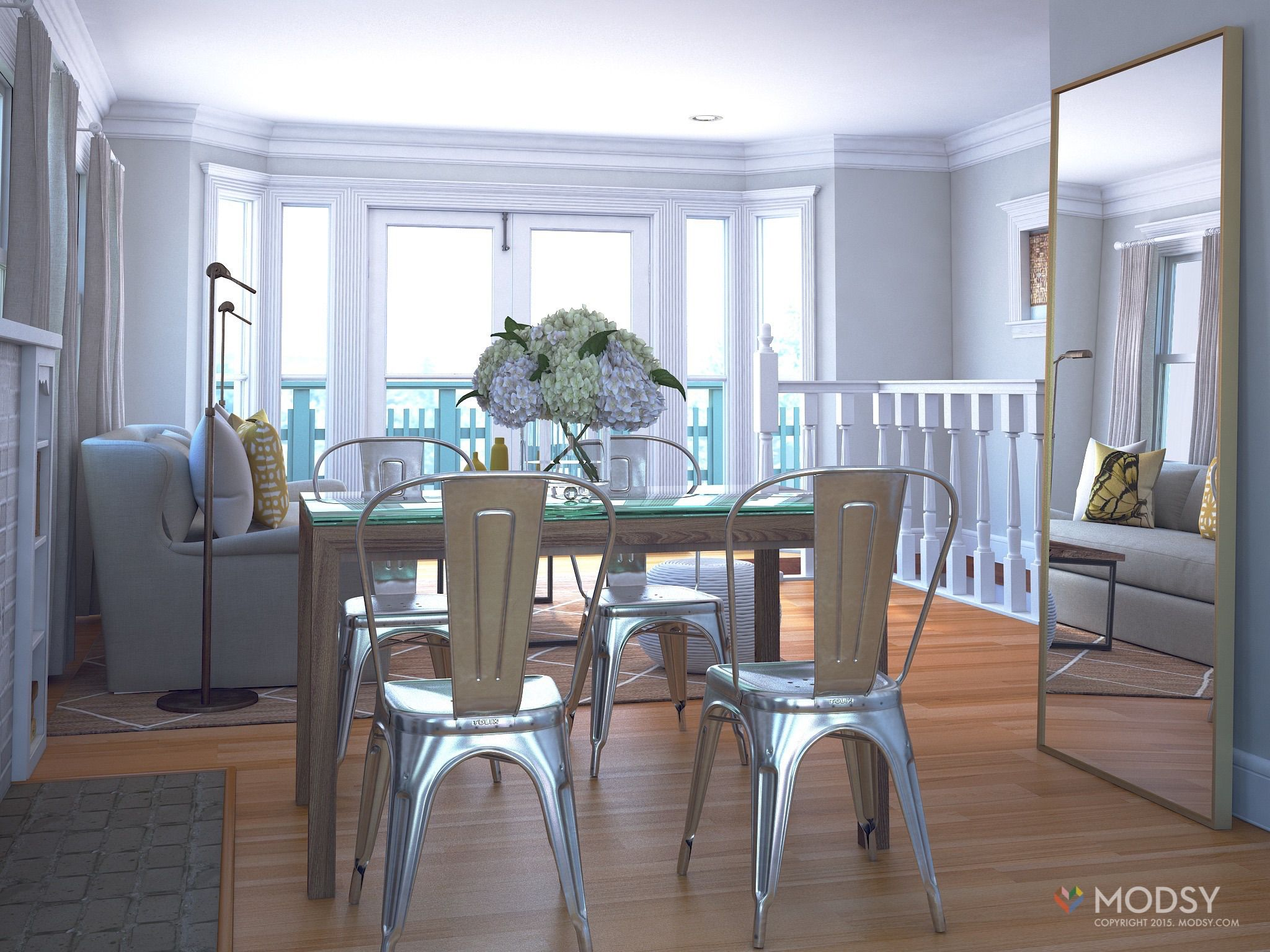 modsy 3d rendering of a rustic open living to dining room