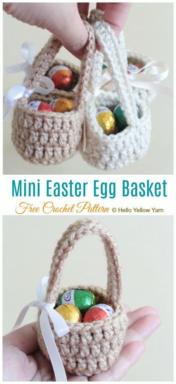 Mini Easter Treat Basket Free Crochet Patterns #eastercrochetpatterns