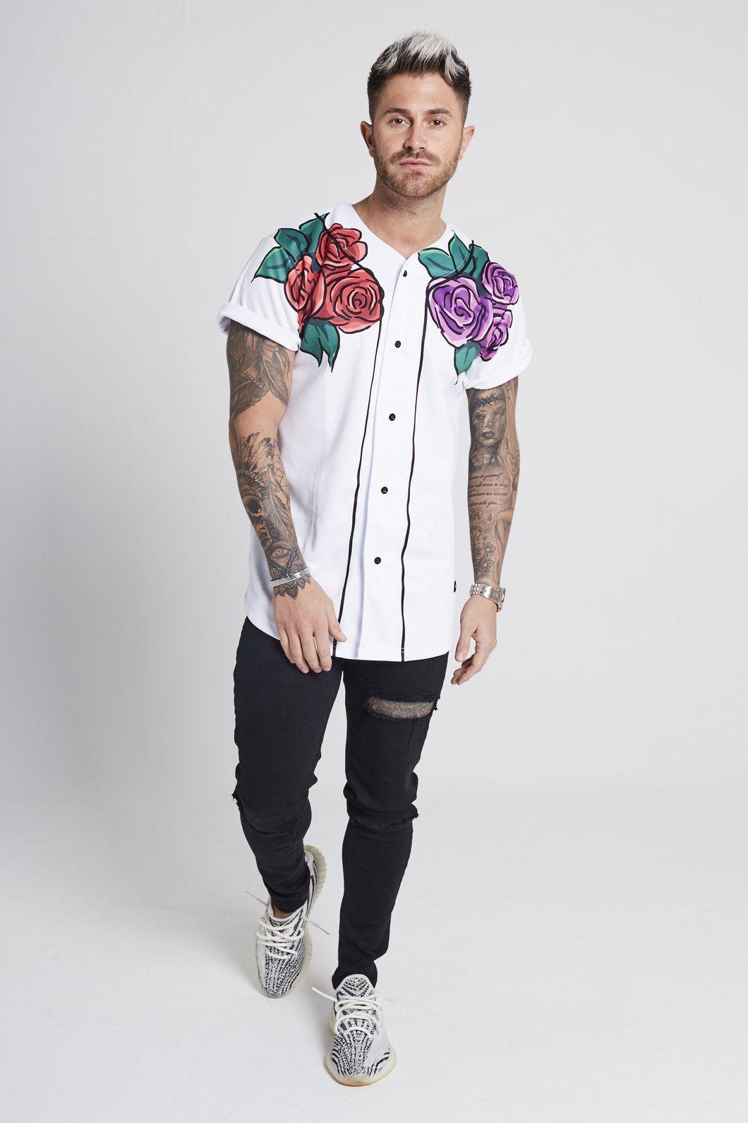 Floral baseball jersey white regular price 4500 slim