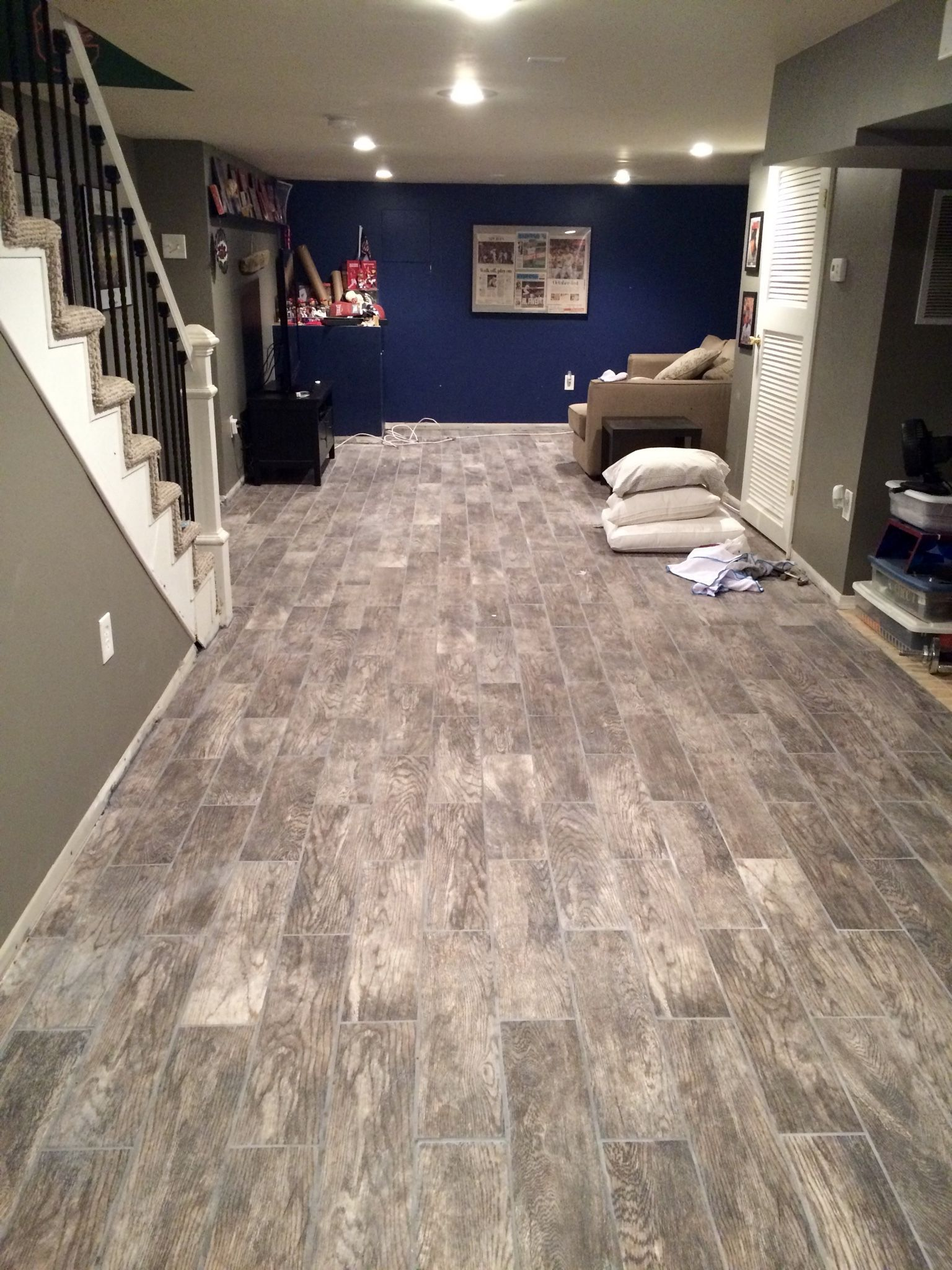 basement flooring renovation eclectically grey from carpet to wood rh pinterest es  best carpet tiles for a basement