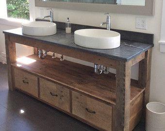 Rustic Industrial Vanity Reclaimed Barn Wood Vanity w Sliding
