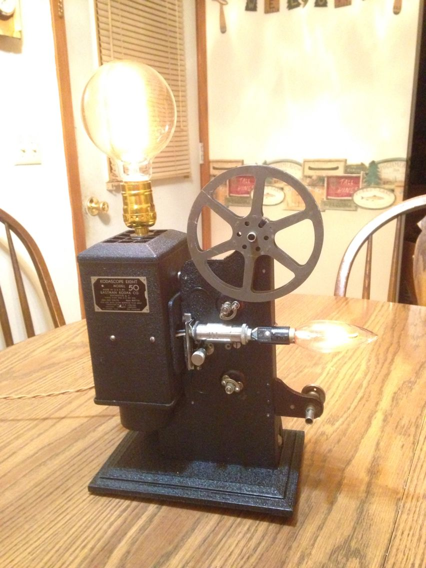 Vintage projector turned into a lamp with