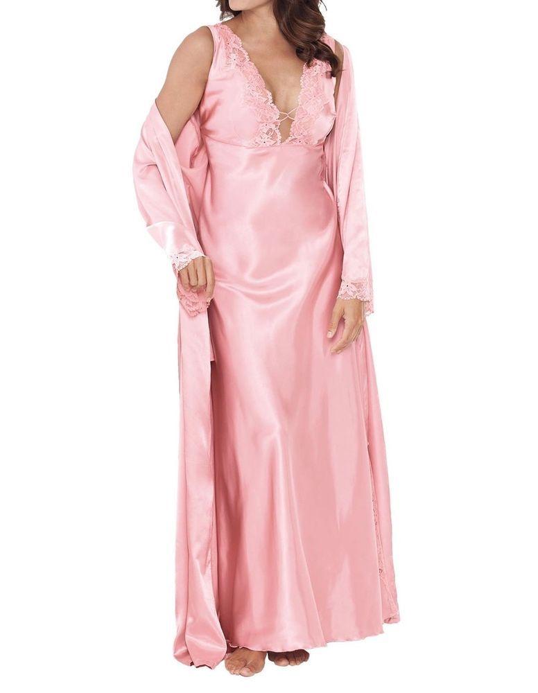 Amoureuse Pink Satin 2pc Gown Robe Peignoir Set Plus Size 1x 22