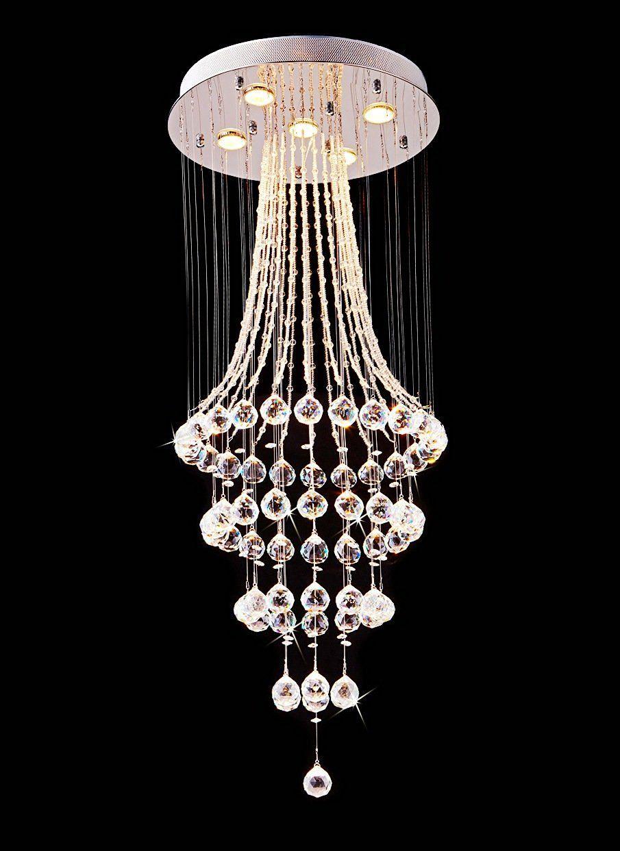 Saint Mossi Crystal Rain Drop Chandelier Modern Contemporary Ceiling Pendant Light 5 Gu10 Bulbs