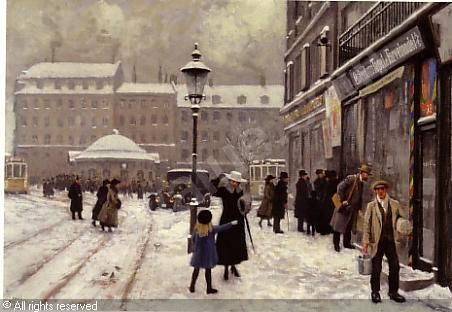 Paul Gustave Fischer (1860-1934). 1912 The Osterbrogade in Winter, with the tram waiting room build in 1907 with architect  Peder Vilhelm Jensen-Klint, it is now a protected building. The 3 faced square is called the Trianglen.