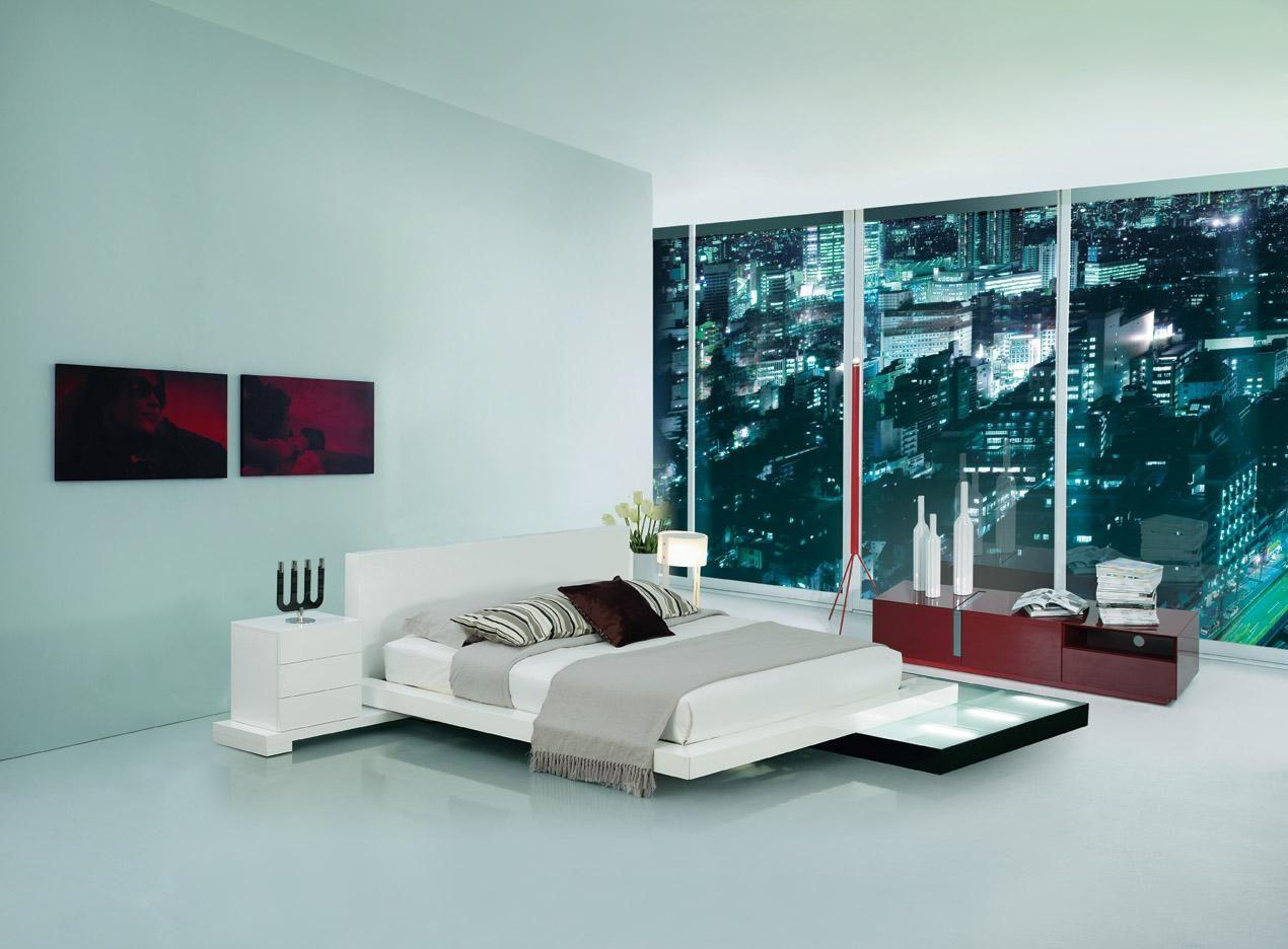 This White modern minimalist bed platform has