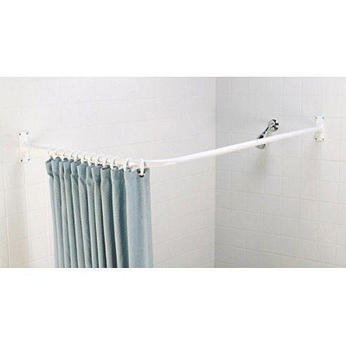 L Shaped Corner Shower Curtain Rod W Brackets White Bathroom