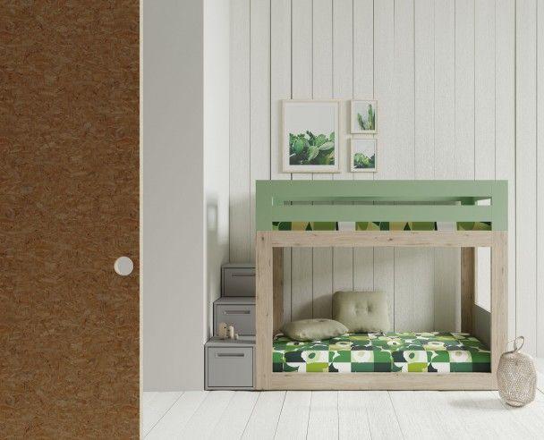 Dormitorio Infantil Con Litera Baja Y Escalera De Cajones Bunk