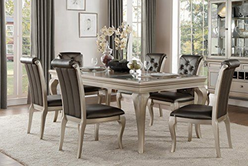 french modern 7 piece dining set with glass insert top in champagne rh pinterest com