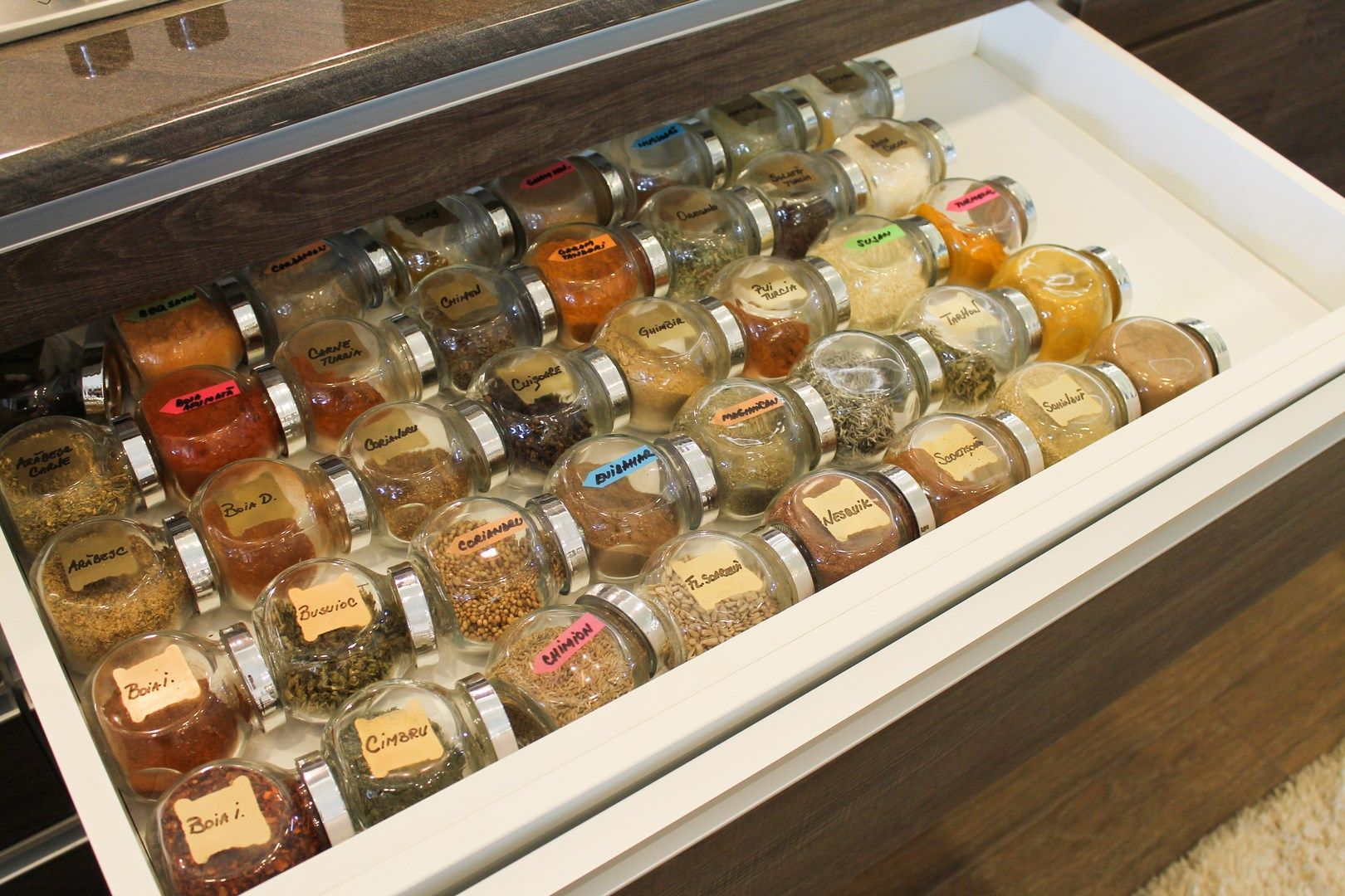 My spices organized in the kitchen - pic from hookedonsharing.com