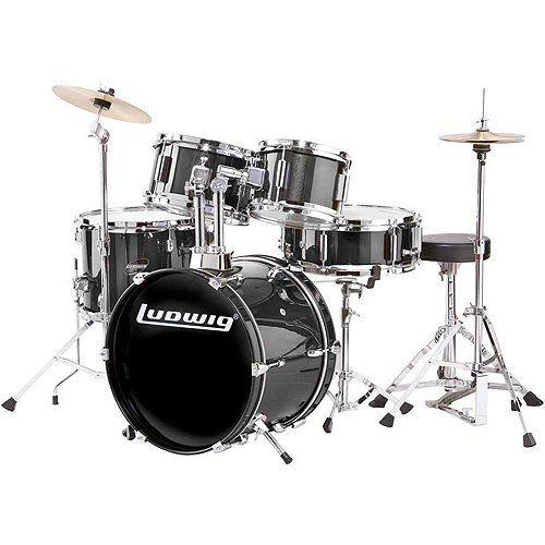 Buy Ludwig LJR106 5-Piece Junior Kids Child Size Beginner Drum Set Black LJR106-1 at ZoZoMusic.com