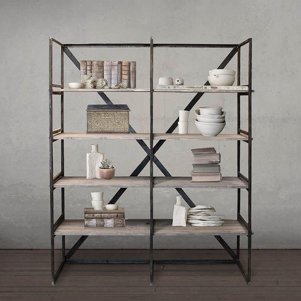 welded steel and reclaimed wood bookshelf bookcase dark stained rh pinterest com