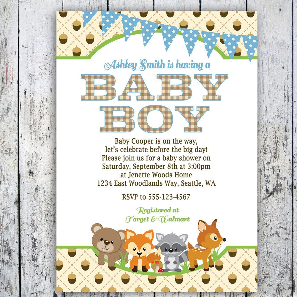 Woodland Baby Shower Invitations Boy Woodlands Invite Printable