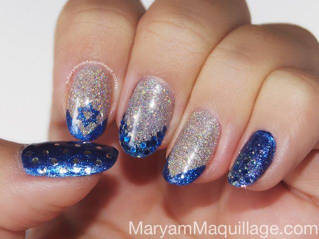 Silver Blue Glitter Glam Hanukkah manicure
