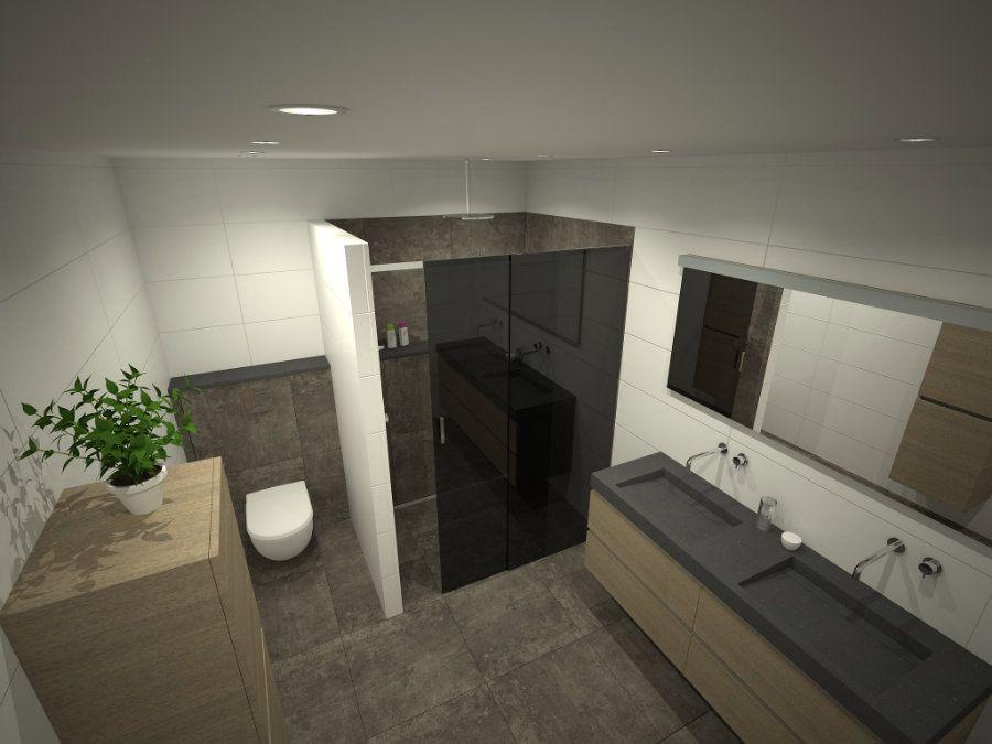 Badkamer met hout - Regendouche Glazen wand - Badkamermeubel ...