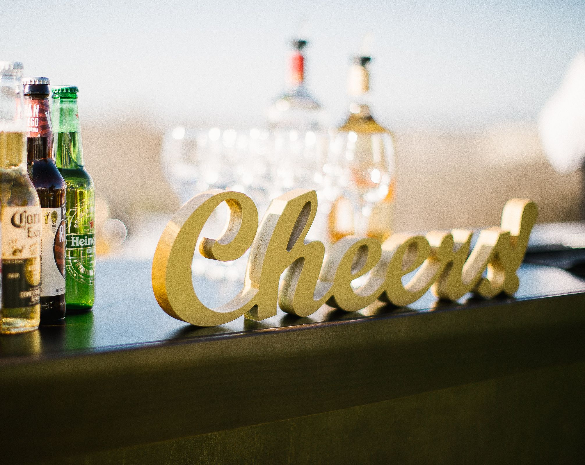 Cheers wedding sign or party sign for bar reception drink