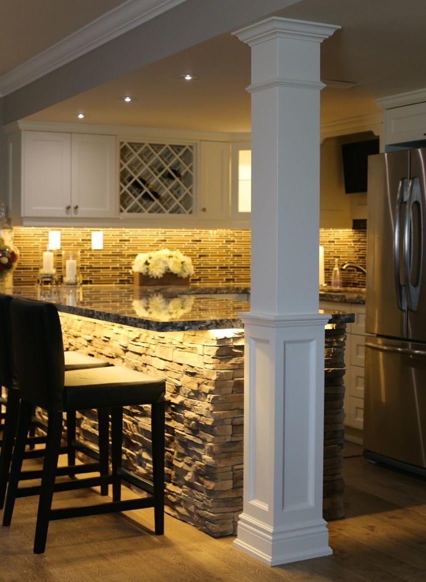 square half recessed paneled column paint grade wood home decor rh pinterest com