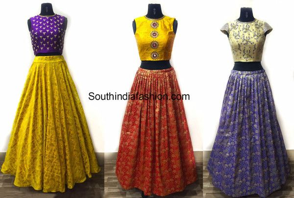 1cc2978f9 Brocade and benaras lehengas with crop tops are such a huge hit these  days..Team the the skirts with different style of work tops and there you  perfect for ...