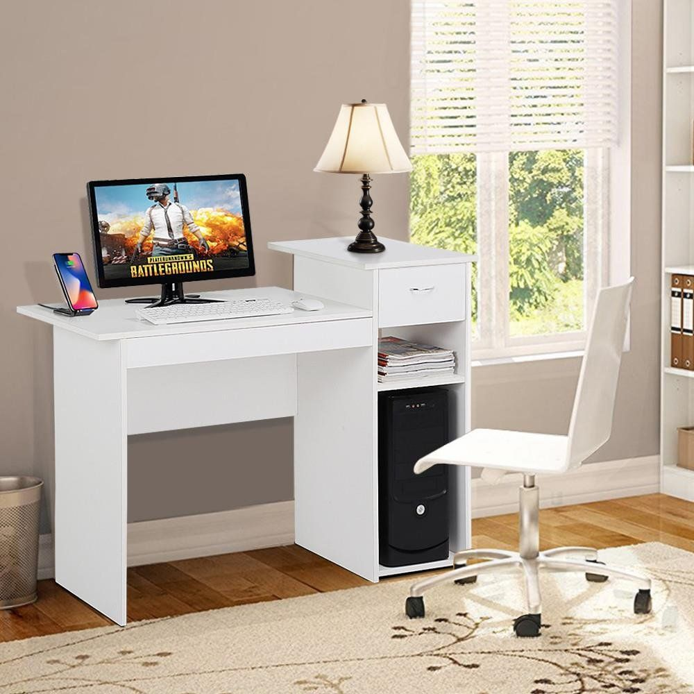 Topeakmart White Compact Computer Desk With Drawer And Shelf Small Spaces Home Office Furniture Small Computer Desk White Computer Desk Computer Desks For Home