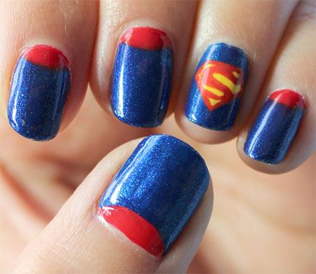 12 Easy Superman Nail Art Designs, Ideas, Trends, Stickers & Wraps 2014 - 12 Easy Superman Nail Art Designs, Ideas, Trends, Stickers & Wraps