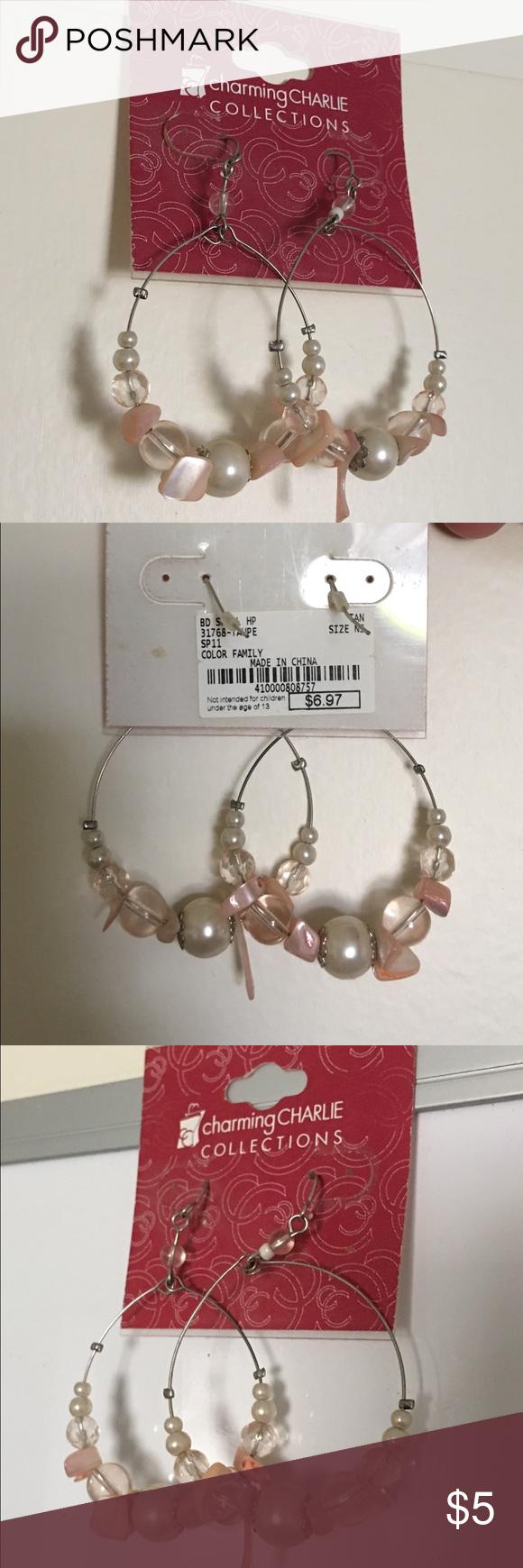 Beautiful hoop pearl sea shell dangle earrings Pink and pearl sea shell earrings from charming Charlie's!! Charming Charlie Jewelry Earrings