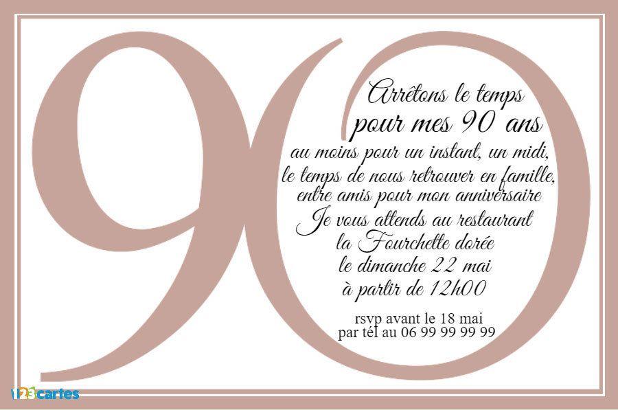 Invitation Anniversaire Avec Le Chiffre 90 Ecrit En Grand Et Avec Un