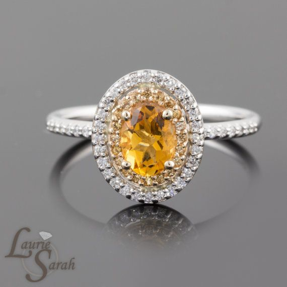 Beautiful kt White Gold Citrine Engagement Ring with by LaurieSarahDesigns