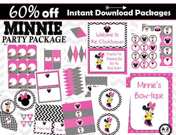 $7.50 Minnie Mouse Party Package 60% savings Instant Download