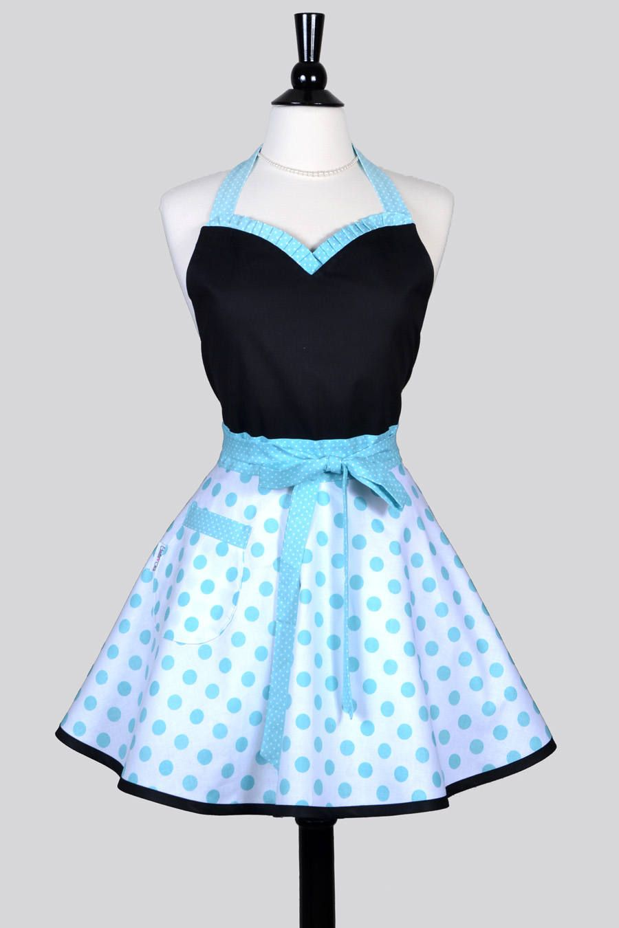 Sweetheart Pin Up Womans Apron . Aqua White Polka Dots Retro Vintage ...