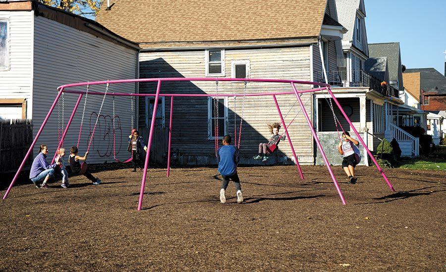 circular swing set in buffalo ny neighborhood via architectural rh pinterest es