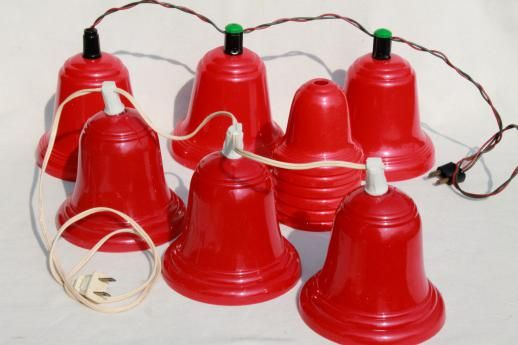 Vintage Red Plastic Bells Christmas Light Covers For Lighted Holiday Door Holiday Door Decorations Christmas Bells Vintage Christmas Lights