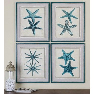 Blue Coastal Starfish Art Prints would make a great addition to your beach house! #starfishart #coastalart