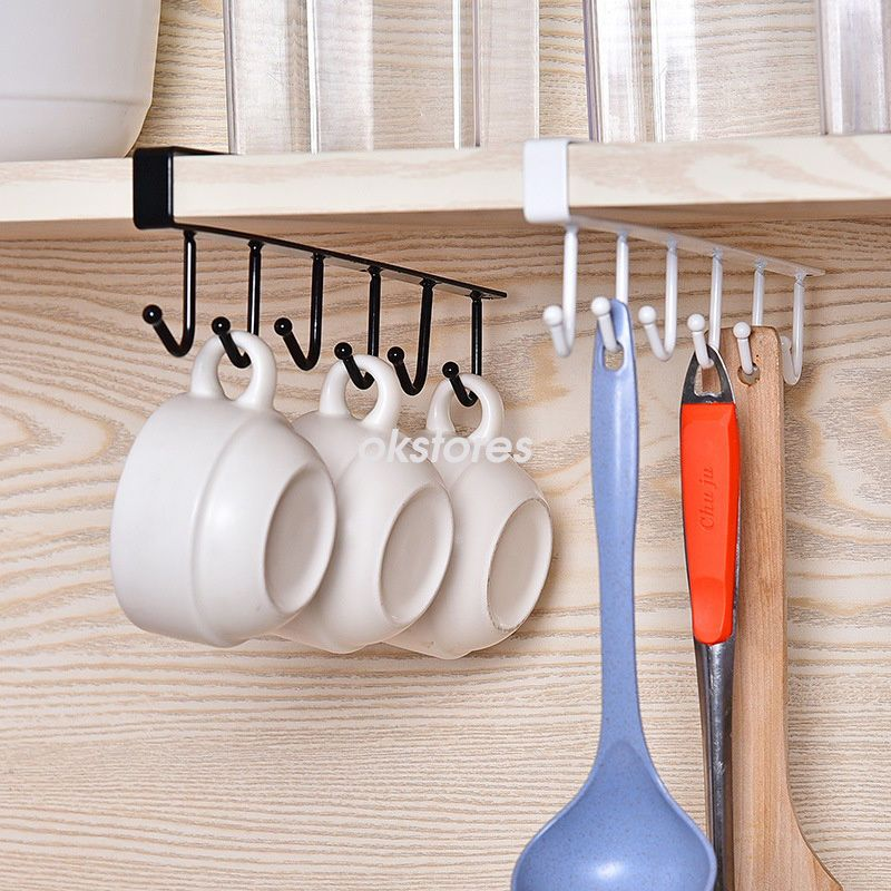 4 11 6 hooks cup holder hang kitchen cabinet under shelf storage rh pinterest com