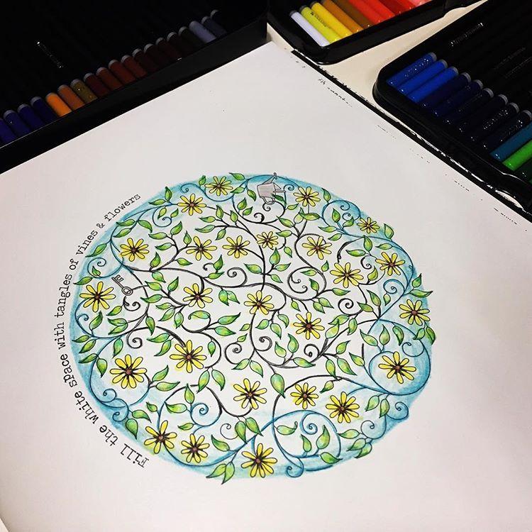 Secretgarden Johannabasford Tangles Of Vines Coloring Tangles Vines Colo Johanna Basford Coloring Book Johanna Basford Secret Garden Gardens Coloring Book