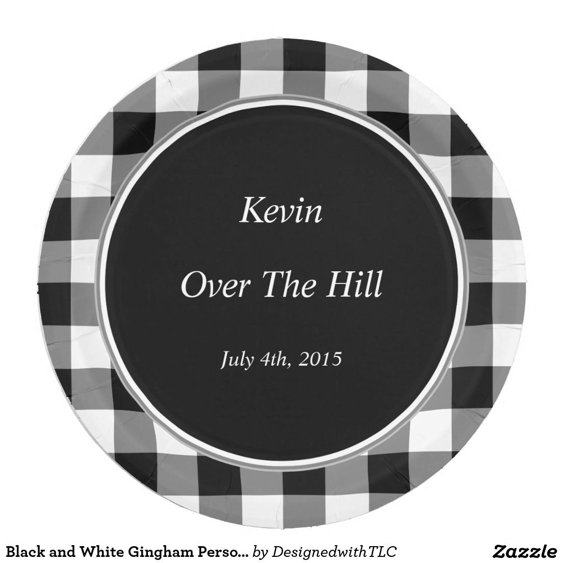 Black and White Gingham Personalized Event Plates 9 Inch Paper Plate  sc 1 st  Pinterest & Black and White Gingham Personalized Event Plates 9 Inch Paper Plate ...