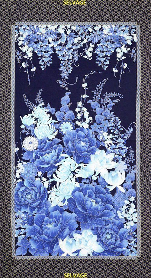 Floral Fabric Indigo Fern PANEL Navy blue flowers