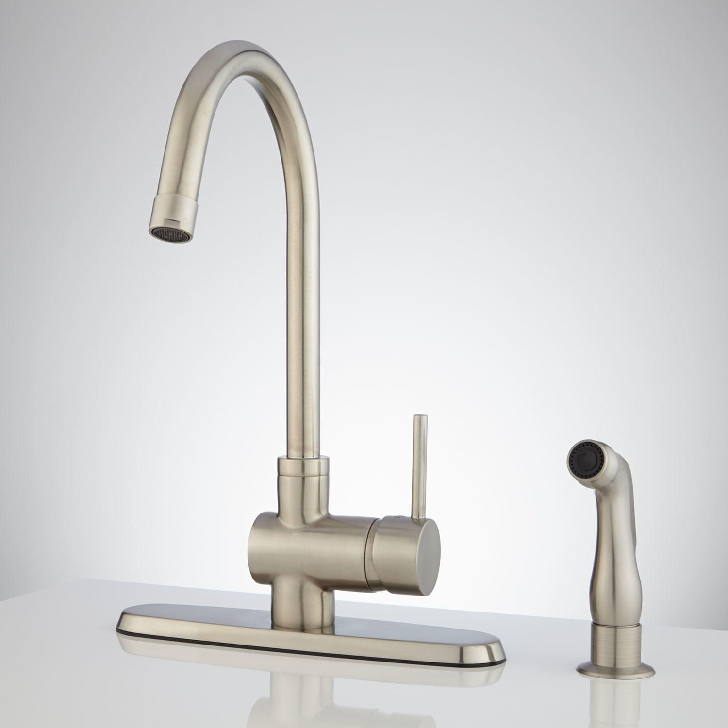 Healey Kitchen Faucet With Side Spray  Faucets Sprays And Custom Brushed Nickel Kitchen Faucet Design Ideas