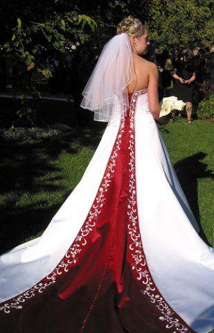red & white wedding dresses