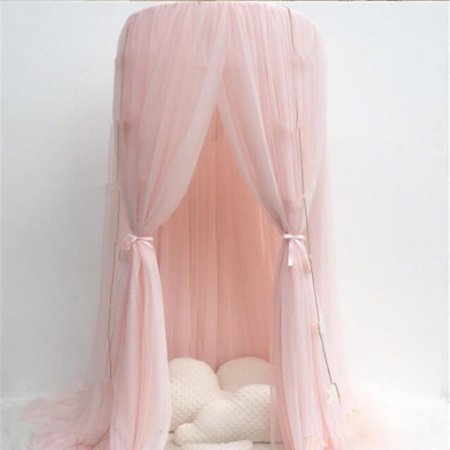 Pink Girls Princess Bed Canopy Round Dome Children Cotton Mosquito