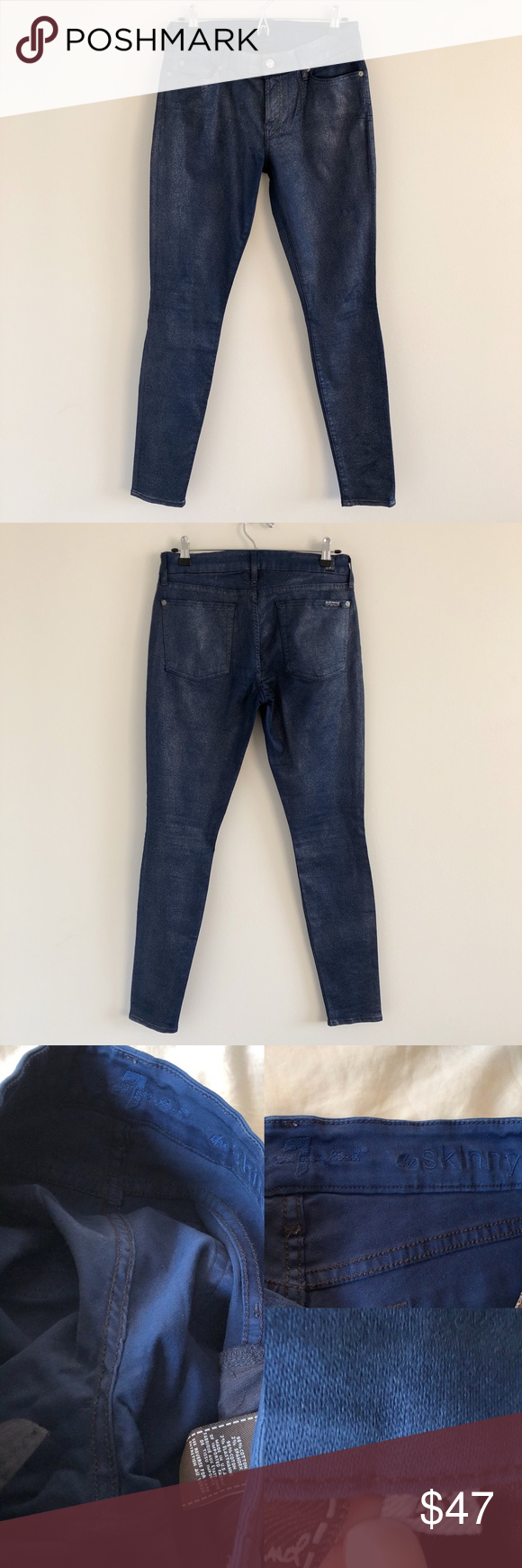 c1e40141 7 For All Mankind The Skinny Shimmer Jeans 28 Dark blue soft, stretchy  skinny jeans with silver glitter throughout. Stats (laying flat): Inseam  (crotch to ...