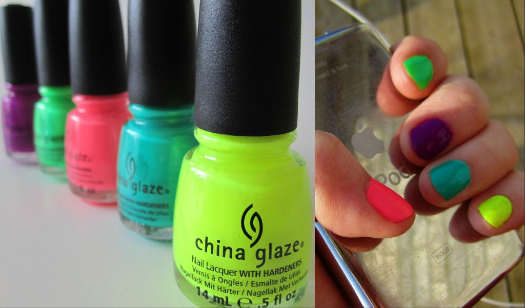 My neon nails from China Glaze haul. Celtic Sun, Turned Up Turquoise ...