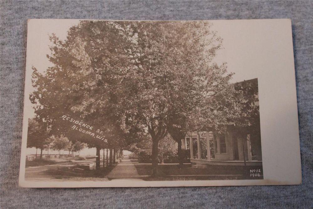 Vintage Postcard Real Photo Residence St. Algoma Wis No. 12 1908 1 Cent Postage