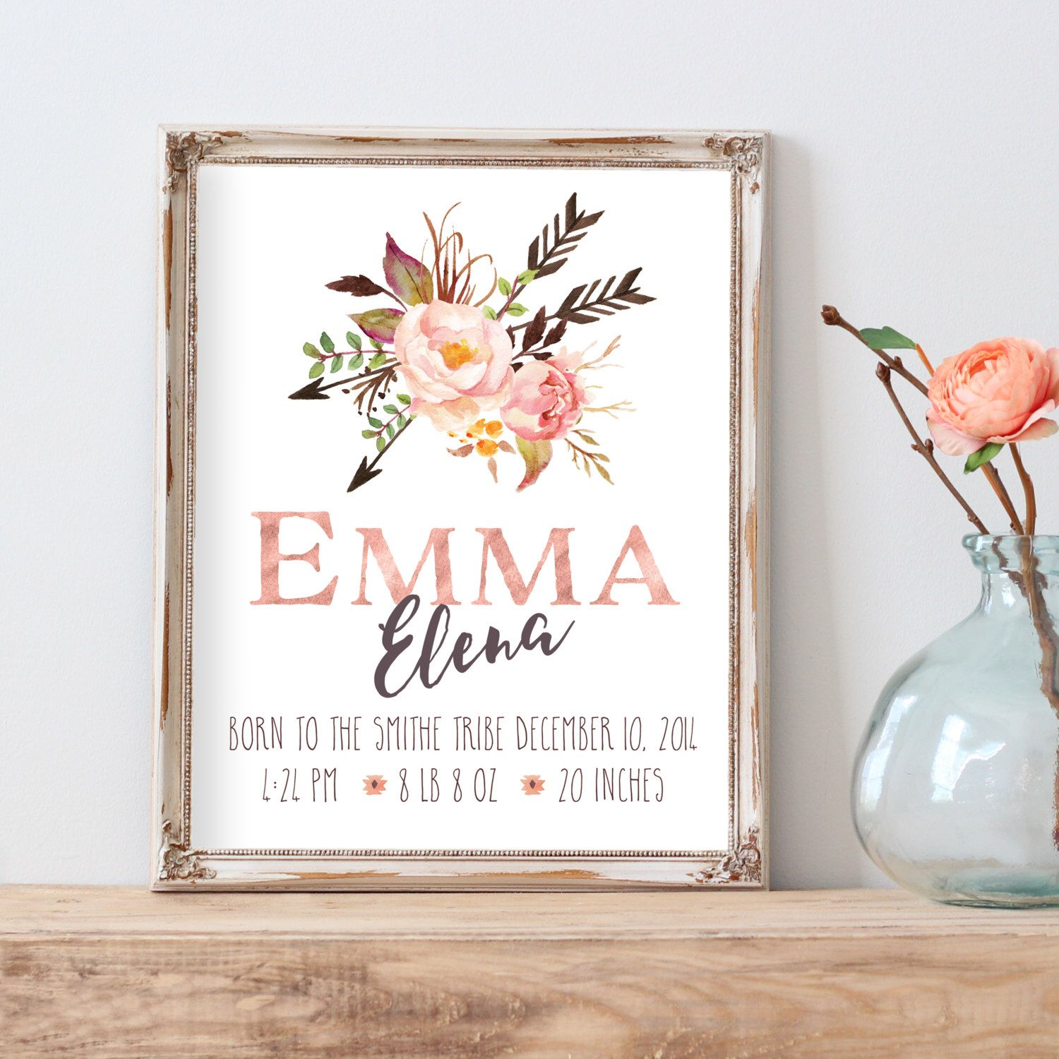 Birth Announcement Print Nursery Wall Art Personalized Baby Gifts Printable Art Name Print T Birth Announcement Print Tribal Nursery Pink And Gray Nursery