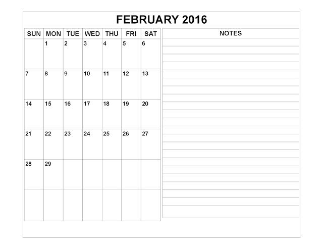 February  Printable Calendar February Blank Calendar