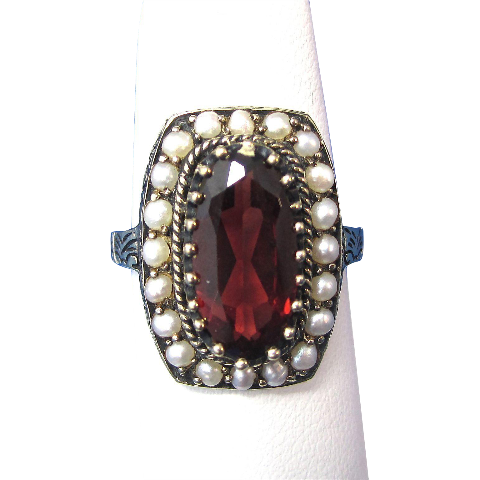 vintage estate 1940's-1950's garnet & seed pearl engagement
